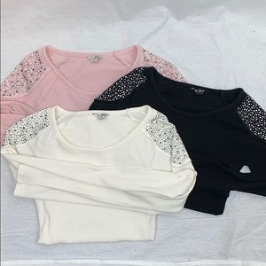 UEC Guess thermal long sleeve pullover, rhinestone